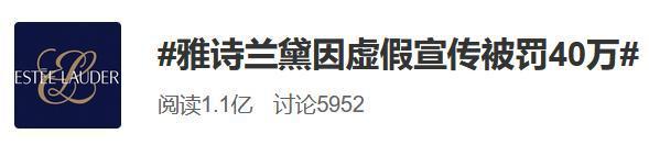 雅诗兰黛因虚假宣传被罚40万,涉及旗下两款产品!已是第三次虚假宣传被罚