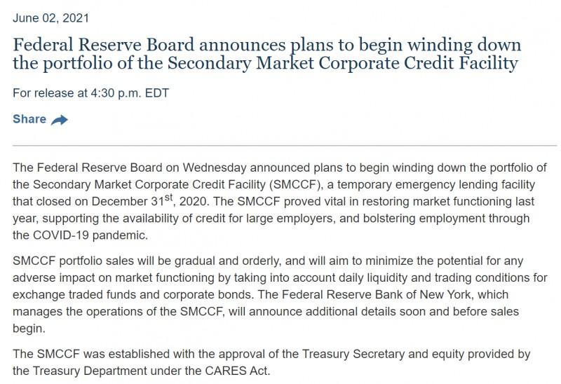 美联储正在为缩减QE做准备的又一证据:逐步缩减企业信贷工具资产规模